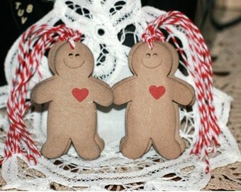 Christmas Gift Tags - Set of 8 Holiday gift tags with twine - Gingerbread Man Men