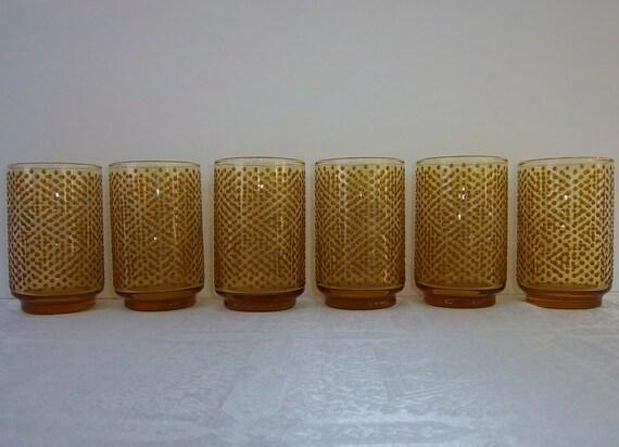 Vintage Lot of 6 Raised Amber Dot  Glasses