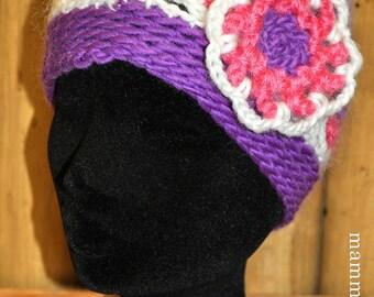 pinkvioletwhite crochet-net-tam with ornament