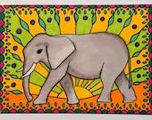 Elephant ATC Circus Pachyderm ACEO
