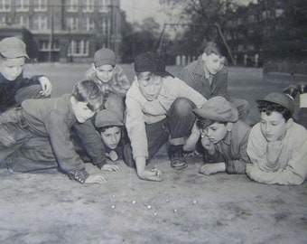1948 Original Photograph Boys Playing Marbles by The Times Chicago's Picture Newspaper