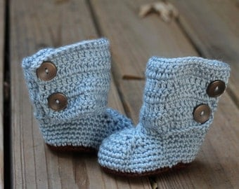 Crochet Boots- Baby Blue and Brown