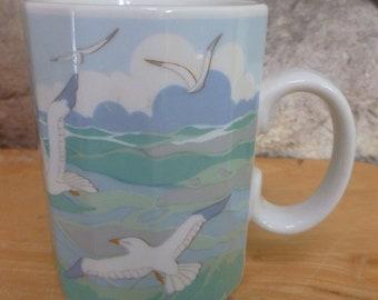 Vintage Otagiti Seagulls mug 12 sides
