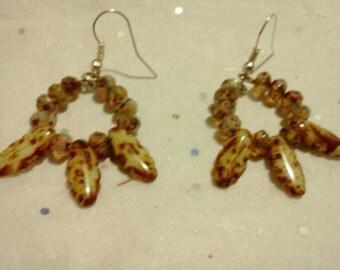 Czech dagger hoop earrings