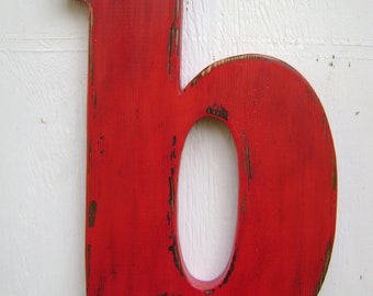 Shabby chic wooden letter decor, nursey decor lowercase b -painted True Red-wall hanging rustic initials and names