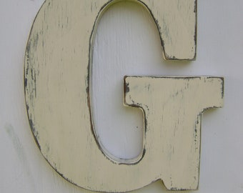 "Wooden letters rustic wall hanging initals Letter G, Hanging Wood Letters,Nursery Letters,12"" tall wooden letter,painted Antique white"
