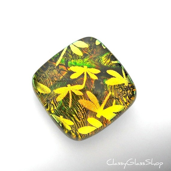 Dichroic Glass Cabochon in Amber, Brown, and Green with Gold Dragonflies