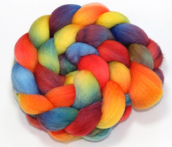 Handpainted Roving - Rock Candy - Falkland Wool, 4 ounces