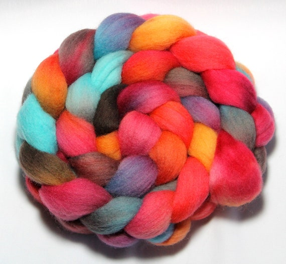 Handpainted Roving - Phosphorescence - Falkland Wool, 4 ounces.
