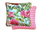 Peony pillow cover 16x16 - Coral / Blue / Green palette
