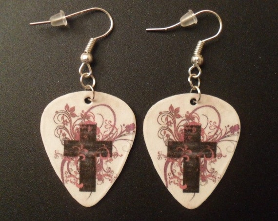 Cross with light pink purple design guitar pick earrings Christian Faith jewelry