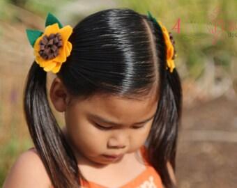 felt sunflower pigtail hair clips, hair bows, hand made, sun flower, yellow, brown, bows,