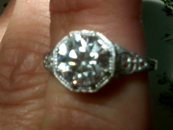 Antique Style 8mm Old European Cut Engagement Ring