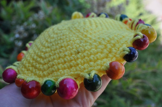 Outdoor Toy - Crocheted Floppy Disc - bright yellow with rainbow colored wooden beads, ready to ship