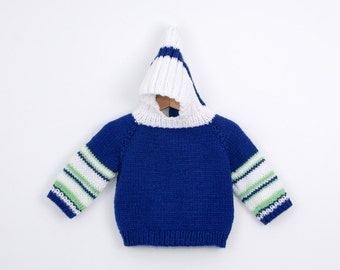 Vintage Hooded Sweater Hand Knit in Blue with Stripes