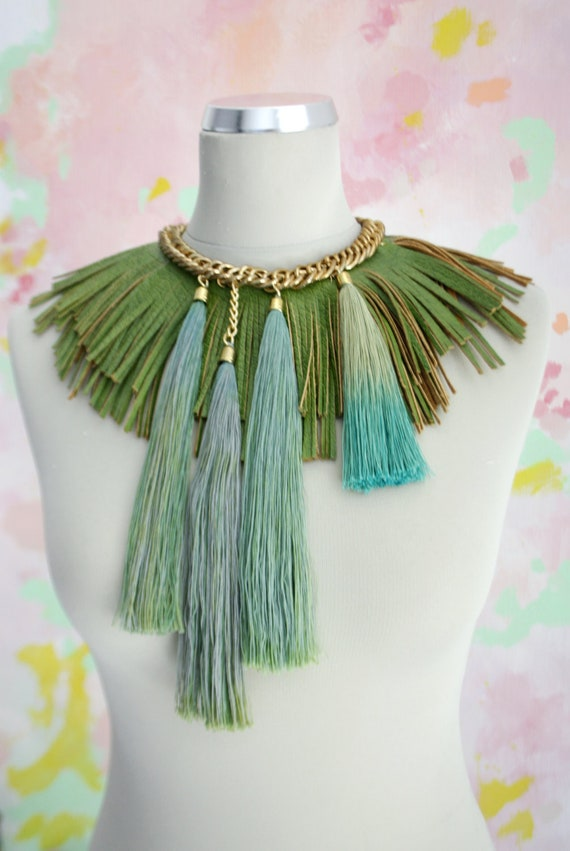 P A R A D I S E / Green & Blue leather tribal necklace
