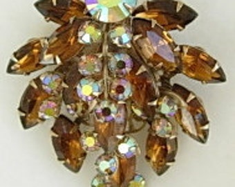 Topaz Rhinestone Brooch Large Vintage Dimensional Layered Aurora Borealis AB Marquise & Round Cut Prong Set Gold Tone Filigree Back Leaf