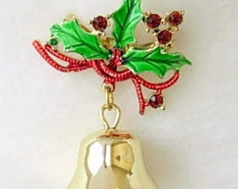 Jingle Bell Brooch Vintage Ringing Bell Holly Ribbon Christmas Brooch Pin Enamel on Gold Tone Metal Red Green Rhinestone Accents Rings Xmas