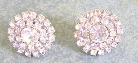 Vintage Earrings Clear Rhinestones Prong Set Screw Back