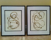 Abstract Modern Art Pair - Set of 2 Paintings - 11x14 Contemporary Abstract Art, Come Matted & Framed as shown.