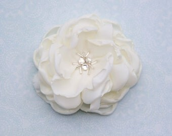 Wedding Hair Flower with Crystal Center, 2.5 or 3.5 inch Bridal or Flower Girl Hair Flower, White Ivory or Champagne, Style 2044