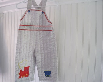 LAST CHANCE- Vintage Tiny Tots grey quilted train overalls- size 18 months