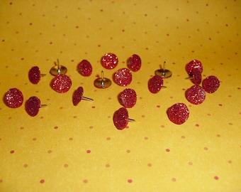 Thumb Tacks Red Glitter Push Pins Set Sparkles