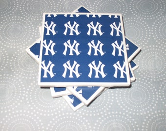 New York Yankees Coasters Navy Blue and White Felt-Backed Ceramic Tile Set of four