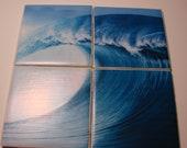 Tile Coaster / Trivet Set (Ocean, Wave, Surf, Beach)