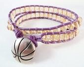 Purple Leather Wrap Bracelet Citrine Gemstone Smooth Round Beads 6mm Basketball Lakers