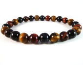 Men's Multi Color Tigers Eye Stretch Bracelet Smooth Round 8mm Beads
