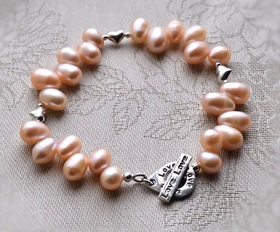 Natural Pink Freshwater Pearl Bracelet Sterling Silver Handmade Love Toggle Clasp rare one of a kind Statement Jewellery Hallmarked 926