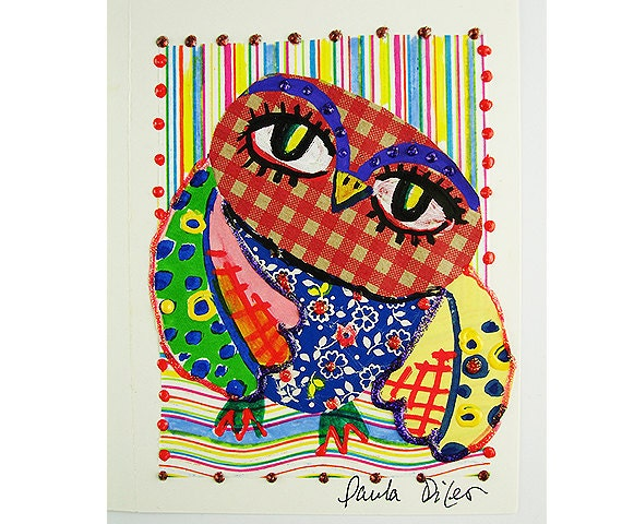 Collage Card, Owl Collage Note Card, Owl Greeting Card, 4 1/2 x 6 by Paula DiLeo