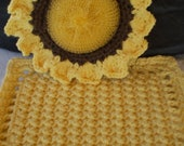 Scrubbie Dishcloth Sunflower Gift Set- Mesh Net Scrubbie 100% Cotton Yarn Border Non Abrasive - Bright Yellow and Brown Holiday Gift Set
