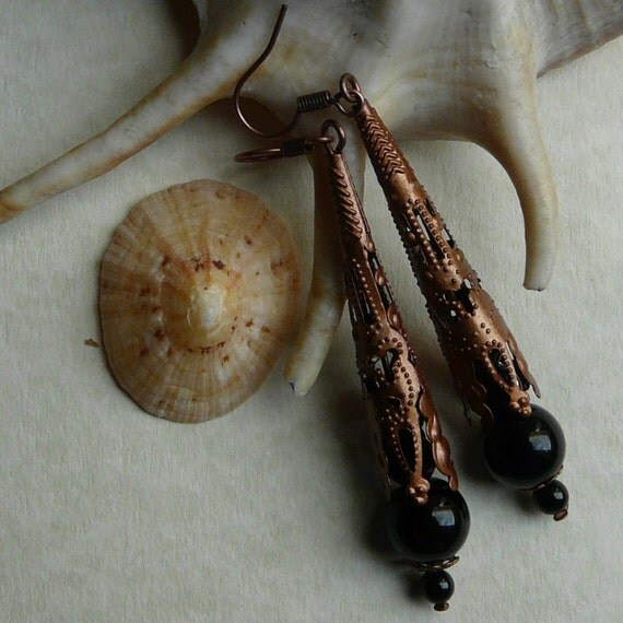 Gothic Copper Tone Black Glass Pearl Earrings Free Worldwide Shipping