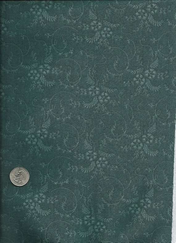 Women of Courage teal floral print reproduction fabric