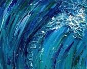 Wave Crashing Painting 12x12 Acrylic on Canvas original Art Textured Colorful Blues