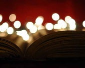 """BOGO SALE Bokeh Photography Holiday Lights Red and Gold Vintage Book 8x12 Print """"Old Book"""""""