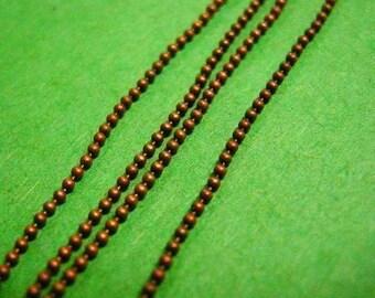 5 feet antique copper nickel free 1mm ball chain-599