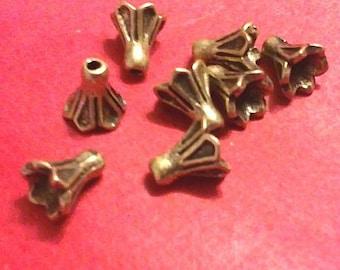 50pc 5mm antique bronze metal bead cap-1780