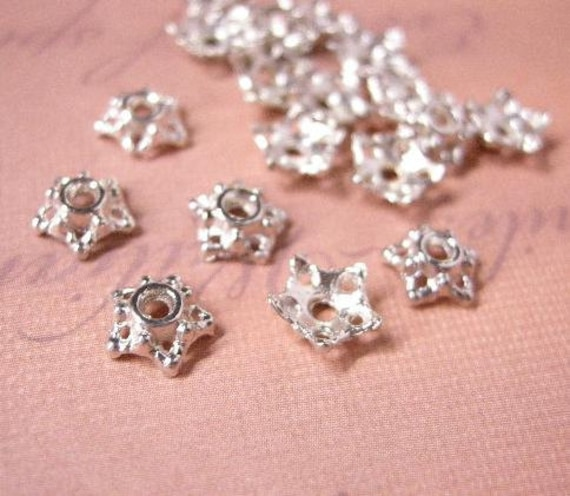 30pc 7mm antique silver flower bead caps-5761