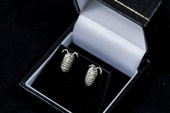 Silver woodlouse earrings