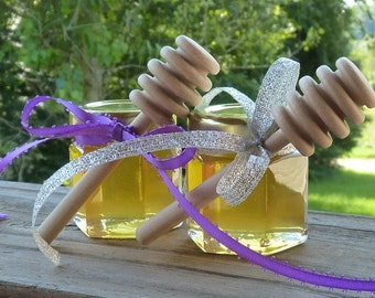 Wedding Honey Favors 65 Raw Wildflower Honey 2oz Jars Raw Honey Tennessee Wood Honey Dippers Bridal Shower Engagement Wedding Reception Gift