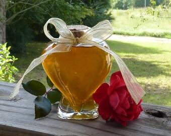Heart Jar of Honey 9oz Antique Style Glass Jar of Raw Wildflower Honey with Cork Wedding Favor Gold Ribbon Bridesmaid Gift