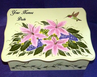 Custom Wood Wedding Keepsake Card Box Hand Painted Hummingbird Personalized Gift White Hummingbird Wedding Large Bridal Shower Gift Box