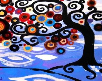 Original Swirly Aquarius Sky Blue Jeweled TREE landscape  Zodiac ART Print by Natasha Wescoat 8x10 12x16 13x19 16x20