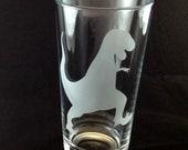 Tyrannosaurus T Rex Dinosaur Etched Pint Glass