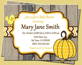 Pumpkin Baby Shower Invites  Mom-to-Be Party Invitations Printable DIY