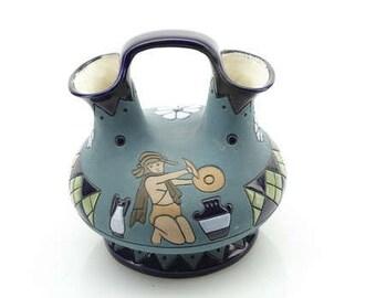 Blue Vase - Amphora Wedding Vase - Pottery with Dual Spout