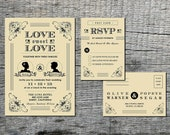 Vintage Wedding Invitation & RSVP Card with Silhouette of Couple - Hand Drawn Graphics - DIY Printable